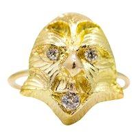 Ferocious Victorian Diamond Gargoyle Ring in 14K Yellow Gold