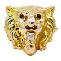 Regal Art Nouveau Lions Head Ruby & Diamond Ring in 14K Yellow Gold