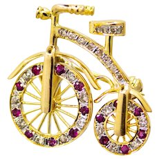 Retro Ruby & Diamond Moving Bicycle Brooch in 14K Gold