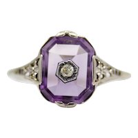 Art Deco Amethyst & Diamond Filigree Ring in 18K White Gold