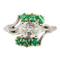 Cartier 1.16ct Diamond & Emerald Engagement Ring in Platinum Circa 1960's