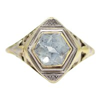 1920's Hexagonal Aquamarine Solitaire Ring in Platinum & Yellow Gold