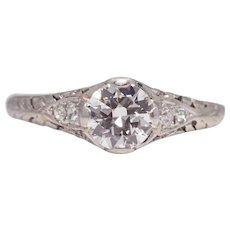 Exquisite Art Deco Diamond Filigree Engagement Ring in Platinum