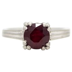 1920's Art Deco 1.43ct Ruby Solitaire Ring in Platinum