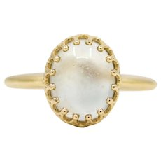 Victorian Moonstone Solitaire Ring in 14K Yellow Gold