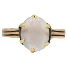 Victorian Blue Sheen Moonstone Solitaire Ring in 14K Rose Gold