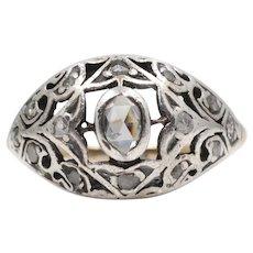 18th Century Georgian Rose Cut Diamond Engagement Filigree Ring