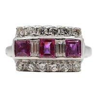 Vintage Retro Ruby & Diamond Ring in Platinum