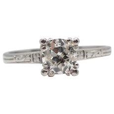 Circa 1920's Art Deco Engraved Diamond Solitaire Engagement Ring in Platinum