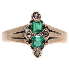Victorian Emerald & Rose Cut Diamond Twin Stone Ring in 14K Gold
