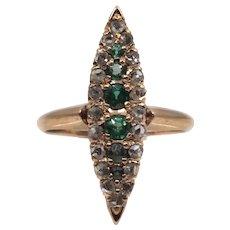 Victorian Rose Cut Diamond & Tsavorite Garnet Ring in 14K Gold