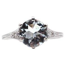 Edwardian Sky Blue Aquamarine & Diamond Ring in Platinum
