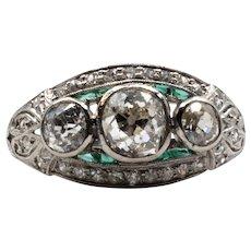 Enchanting Art Deco Diamond & Emerald Engagement Ring in Platinum