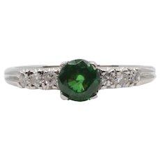 Vintage 1.10 Carat Tsavorite Garnet & Diamond Ring in Platinum
