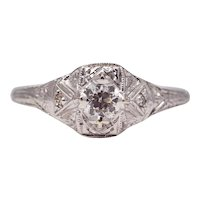 Sale! Delightful Art Deco 18K White Gold Diamond Engagement Ring