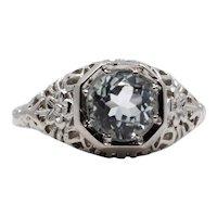 Filigree Art Deco Aquamarine Solitaire Ring in 18k White Gold