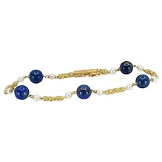 Cartier Vintage Retro Lapis & Pearl Bracelet in 18K Yellow Gold