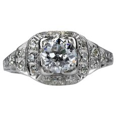 Art Deco 0.75ct Old European Cut Diamond Engagement Ring in Platinum