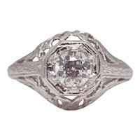 Sale! Art Deco Birds & Butterflies Platinum Diamond Engagement Ring
