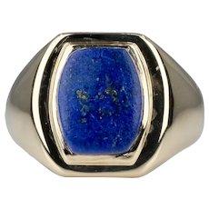 Tiffany & Co Art Deco Mens Lapis Lazuli 14K Yellow Gold Ring