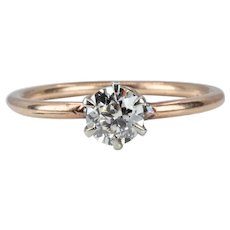 Victorian 0.60ct Old Mine Cut Diamond Engagement Ring in Platinum & 14K Yellow Gold