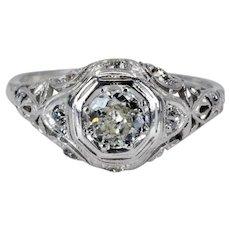Hand Crafted Edwardian Filigree Diamond Engagement Ring in Platinum