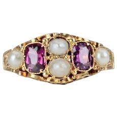 Victorian Amethyst & Pearl English 15 Karat Gold Filigree Ring Circa 1897