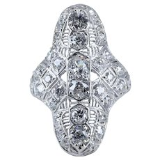Extravagant Edwardian 2.68ct Diamond Cocktail Ring in Platinum
