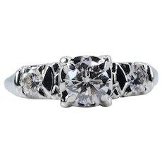 Vintage 0.85ct Three Stone Diamond Engagement Ring in 18k White Gold
