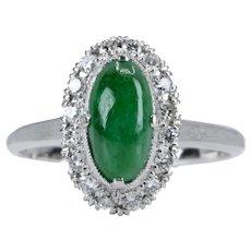 Vintage Type A Jade & Diamond Halo Ring in Platinum