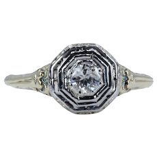 Art Nouveau Platinum and 14K Yellow Gold Diamond Engagement Ring