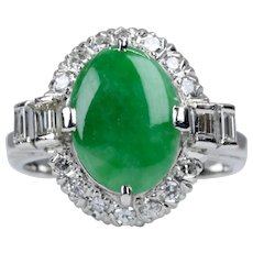 Art Deco Type A Jadeite Jade & Diamond Ring in Platinum