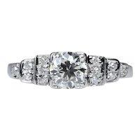 Vintage Old European Cut Diamond Engagement Ring in 18K White Gold