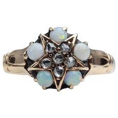 Victorian Opal & Rose Cut Diamond Star Ring in 14K Yellow Gold
