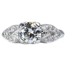 Circa 1940's Art Deco 0.83 Carat Diamond Engagement Ring in Platinum