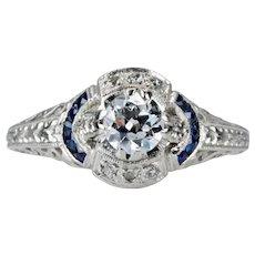 Exuberant Art Deco Diamond & Sapphire Engagement Ring in Platinum