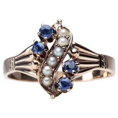 Victorian Montana Sapphire and Pearl Ring in 14K Gold