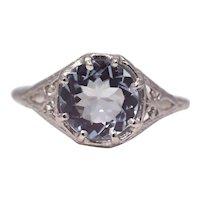 Sale! Sparkling Edwardian Aquamarine Filigree Ring in Platinum