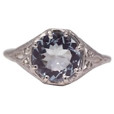 Sale! Sparkling Edwardian Aquamarine Filigree Ring in Platinum