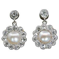Edwardian Old European Cut Diamond & Natural Pearl Dangle Earrings
