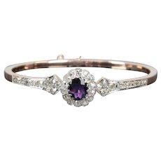 French Amethyst & Mine Cut Diamond Bangle Bracelet in 18K Rose Gold