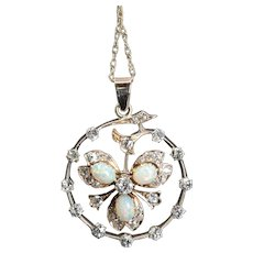 English Victorian Mine Cut Diamond & Opal Clover Pendant Necklace