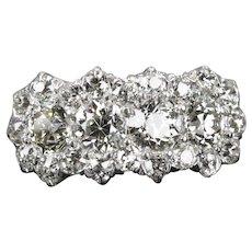 Edwardian 3.10 Carat Old European Cut Diamond Band Ring in Platinum, 18K Gold