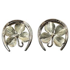 Vintage Cartier Horseshoe and Clover Cufflinks in 14K Gold