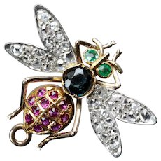 Art Nouveau Diamond Dragonfly Brooch in Platinum, 18K Gold