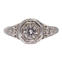 Sale! Filigree Art Deco 0.32ct Diamond Solitaire in 18K White Gold