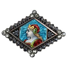 French Plique A Jour Enameled & Rose Cut Diamond Brooch in 18K Gold
