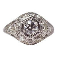 Sale! Edwardian Platinum & European Cut Diamond Engagement Ring