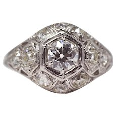 Sale! Edwardian Platinum & European Cut Diamond Engagement Ring