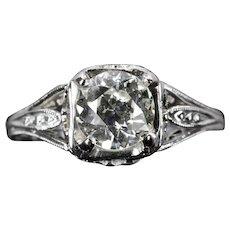 Art Deco 1.00ct GIA Certified Diamond Engagement Ring in Platinum
